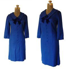 Vintage 1960s 60s Dress - Royal Blue Wool Mad Men Joan Peggy Mod Day Office Secretary Cocktail Dress Medium Large. $79.00, via Etsy.