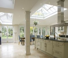 roof lantern and natural stone floor for optimum natural light.