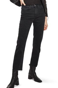 a2313bb3 Shop Topshop Raw Hem Straight Leg Jeans in Washed Black at Modalist    M0021000308677