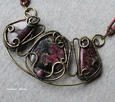 Brass necklace with eudialyte and ruby - a light, delicate, very beautiful and comfortable - Wire Wrapped Jewellery Handmade by JewelrySR on Etsy