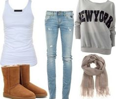 Pullover Sweatshirt, Under Tank, Scarf, Jeans and Ugg-ish Type Boots
