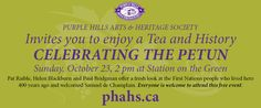 Purple Hills presents Celebrating the Petun Sunday, Oct 23 @ 2pm Station on the Green in Creemore, ON  Pat Raible, Helen Blackburn and Paul Bridgman offer a fresh look at the First Nations people who lived here 400 years ago. Everyone is welcome to attend this free event.