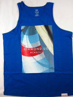 Diamond Supply Co Sailing USA tank top skate shirt men's blue size XL…