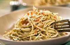 Skinny Spaghetti - Simply toss pasta with 1 1/2 teaspoons olive oil, breadcrumbs, parsley, lemon juice, garlic powder salt, and black pepper; Much healthier than any cream sauce.