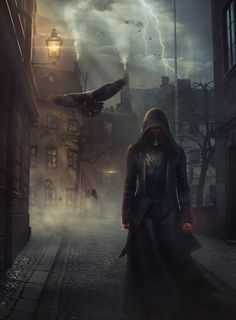 Really good use of lighting. Things you don't want to see on a night's walk: The Black Sorcerer Is In Town by Shue13 on DeviantArt (detail)