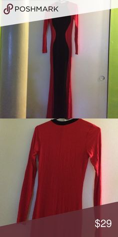 """Never worn maxi dress Red maxi dress with black hourglass design in front....all red in back (except black collar)...62"""" shoulder to bottom...24"""" sleeves...96% rayon/4% spandex...stretchy and flowing....Never worn GOODTIME USA Dresses Maxi"""