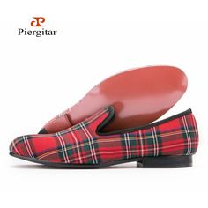96.53$  Buy here - http://ali67v.worldwells.pw/go.php?t=32791036383 - Scotch plaids Fabric Men shoes Men Red and Blue Casual loafers Men Flats Size US 6-14 Free shipping 96.53$