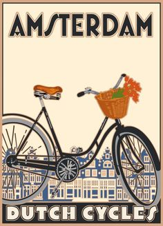 These Linnea travel were the first (and best) of the retro travel posters. Dutch Cycle, Pub Vintage, Vintage Style, Amsterdam Holland, Amsterdam Bike, Dutch Bike, Bike Poster, Cycling Art, Advertising Poster