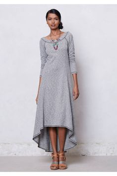 Anthropologie French Terry High-Low Dress Sz XS, Light Gray Casual Midi, Puella #Puella #FrenchTerry #Casual