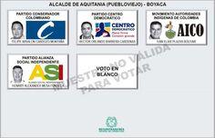 Tarjetón para elección de Alcalde para Aquitania