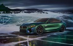 Download wallpapers BMW M8 Gran Coupe, Concept, 2018, exterior, new green M8, sport sedan, German cars, BMW