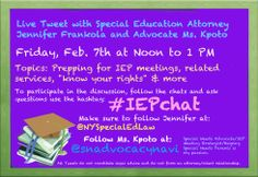 Check out my live Twitter Chat tomorrow. I will be co-hosting with special education lawyer, Jennifer Frankola. Please share and join us.