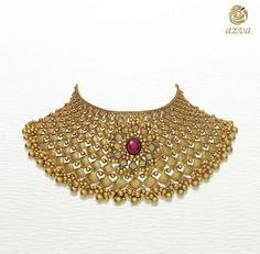 Shop for Azva Gold Choker Necklaces that are designed with exquisite nakshi work, intricate beauty of beads, granules and vibrancy of enamel work. Choker designs which will be cherished for a lifetime! Gold Necklace Simple, Gold Choker Necklace, Gold Necklaces, Necklace Set, Gold Earrings, Choker Jewelry, Statement Jewelry, Chokers, Pakistani Jewelry