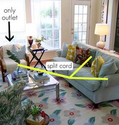 How to split a cord from a single outlet to lamps in the room. Also a great tip on hiding the cords on a table leg.