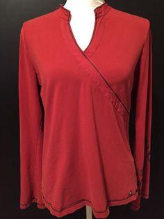 Lole XL Activewear Long Sleeve Knit Workout Top V Neck Faux Wrap Rust Orange #Lole #KnitTop