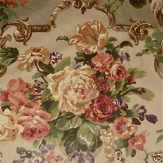 Vintage Floral Fabric   Magnificent Floral Chintz Drapery Upholstery Fabric   eBay