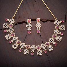 Buy CZ, Zircon & American Diamond Necklace Sets For Women Online Ruby Jewelry, Fine Jewelry, Women Jewelry, Diamond Jewelry, Jewelry Art, Gold Jewelry, Jewelry Making, Diamond Necklace Set, Stone Necklace