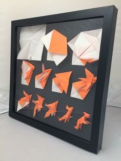 A framed folding sequence of an origami fox - New Ideas Origami Star Box, Origami And Kirigami, Origami Fish, Origami Love, Origami Folding, Paper Crafts Origami, Origami Stars, Origami Ideas, Art Origami
