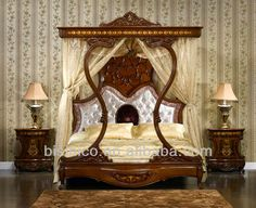 Italian Royal Bedroom Furniture, Luxury Upholstered Canopy Bed With Night  Stands, Classical Hand Carved