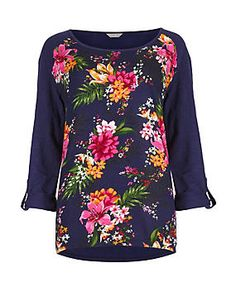 Navy Mix Long Sleeve Tropical Print Top
