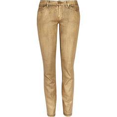MICHAEL Michael Kors Metallic mid-rise skinny jeans ($85) ❤ liked on Polyvore