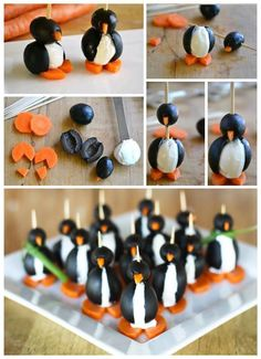 Yep going to make these for Cream Cheese Olive Penguins. Yep going to make these for Christmas for sure! Yep going to make these for Christmas for sure! Cute Food, Good Food, Yummy Food, Carrot Cream, Christmas Party Food, Cute Penguins, Appetisers, Party Snacks, Penguin