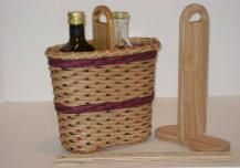 Wine tote with built-in wooden base and handle. Could also be used to display herbed oil and vinegar.
