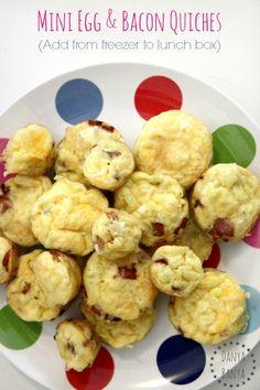 School or preschool lunchbox idea Mini egg and bacon quiche