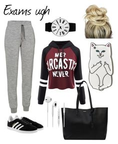"""Exams ugh"" by stina999 on Polyvore featuring WithChic, adidas Originals, Yves Saint Laurent, Icebreaker, RIPNDIP and Rosendahl"