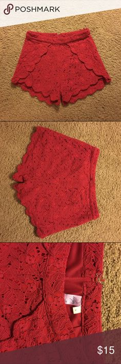 Red Lace High Waisted Shorts Great to dress up or down! Comfy and cute! Barely worn! Francesca's Collections Shorts