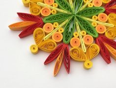 #Snowflake #Yellow #Orange #Green #Red #Christmas #Tree #Decoration #Winter #Ornaments #Gifts #Topper #Filler Office #Corporate #Paper #Quilling #Quilled #Art You can hang it on Christmas tree, use as fridge magnet, decorate Your bookshelf, dinner table or put it in lovely frame. Also can make an excellent addition to Christmas presents! Dimensions of one snowflake - 4.3 ″ x 4.3 ″ (11 cm x 11 cm). Made from 1/4 ″ (5 mm) paper strips of 90 g/m2 paper.