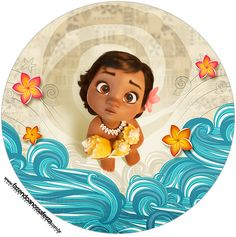 Moana Baby: Free Printable Cupcake Toppers and Wrappers. Moana Party, Moana Birthday Party, 2nd Birthday Parties, Moana Hawaiian, Moana Boat, Festa Moana Baby, Bolo Moana, Fish Quilt, Bottle Cap Images