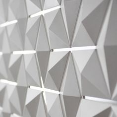 Light Facet, three-dimensional lighting fixture & room divider by Dutch Studio Blooming _ Acoustic Wall, Acoustic Panels, Wall Patterns, Textures Patterns, Module Design, 3d Mesh, 3d Wall Panels, Blinds For Windows, Tile Design
