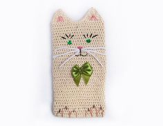Cat Phone Case Cat Phone Cover Crochet by ThreeLittleCatsShop, €15.00