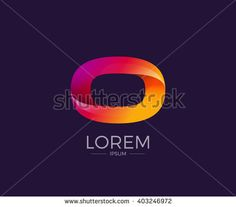 O Alphabet letter logo. Abstract Glossy Colorful logotype vector design template.