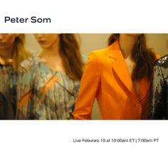 Watch Peter Som LIVE with exclusive photo and text updates happening both on & off the runway.