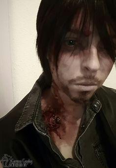 Hurt Daryl Walker Bite Makeup Test #WalkingDeadCosplay #DarylDixonCosplay #HurtDaryl #Cosplay