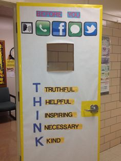 THINK on counseling office door. I LOVE this idea for any teacher or counselor .. Spread the idea!