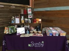 Scentsy Vendor Event Display. Crates from JoAnn Fabrics! Bar storage container are shoe containers from Walmart that hold 20 bars each. https://whitneyharshman.scentsy.us