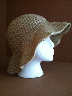 100% cotton crocheted sun hat, looks easy good for gardening this summer!