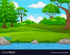 Forest scene with many trees and river Royalty Free Vector