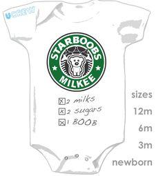 7f209d3c2 STARBOOBS MILKEE ONESIE - The perfect onesie for a starbucks Baby via Etsy.