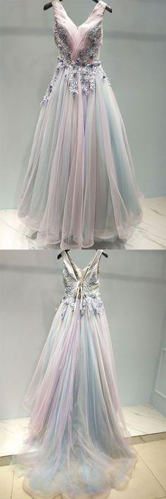 Unique v neck tulle lace applique long prom dress, evening dress