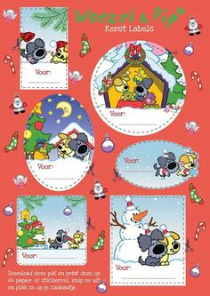 woezel en pip Christmas Time, Christmas Crafts, Xmas, Scrapbook Paper, Baby Room, Free Printables, Stampin Up, Baby Kids, Snoopy