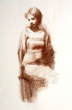"""""""Sketch of Courtney"""" by Susan Lyon (Conte on paper)"""