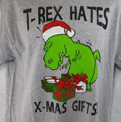 T-Rex Hates X-Mas Gifts T-Shirt NEW L Christmas Gray NWT Large Holiday Dinosaur