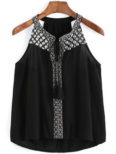 Shop Halter Embroidered Black Tank Top at ROMWE, discover more fashion styles online. Western Outfits Women, Western Dresses, Crop Top Designs, Pakistani Dresses Casual, Teen Fashion Outfits, Black Tank Tops, Simple Outfits, Ladies Dress Design, Indian Outfits