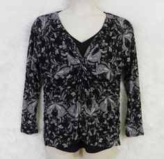 Womens Plus APT 9 Black Gray Floral V-Neck Knotted Empire Waist Lined Top SZ 1X #Apt9 #Blouse #CareerCasual