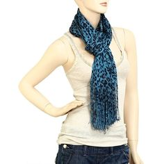 Teal Blue and Leopard Shimmer Scarf