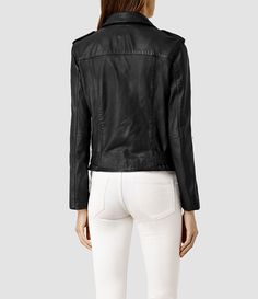 Women's Rayna Leather Biker Jacket (Black) - product_image_alt_text_3